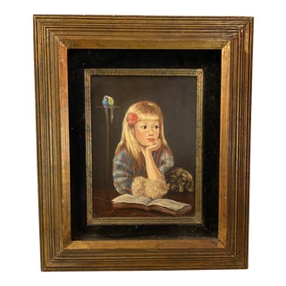 1960s Portrait Painting of Sweet Girl With Pup and Parrots For Sale