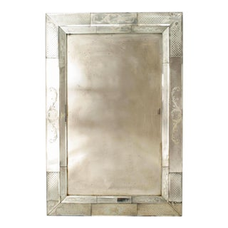 Italian Venetian Murano Etched Glass Wall Mirror For Sale