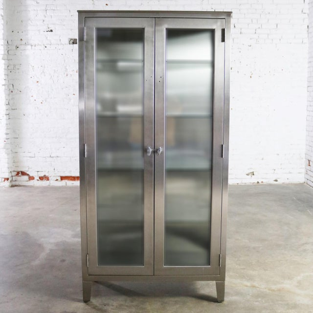 Vintage Stainless Steel Industrial Display Apothecary Medical Cabinet With Glass Doors and Shelves For Sale - Image 4 of 13