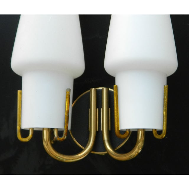 Arlus Arlus Mid-Century French Brass Sconces - A Pair For Sale - Image 4 of 5