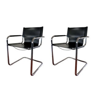 Vintage Mart Stam Italian Bauhaus Cantilever Tubular Chrome and Full-Back Leather Armchairs- a Pair For Sale