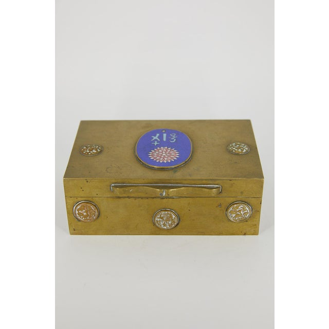Chinese Vintage Chinese Brass and Enamel Box For Sale - Image 3 of 7