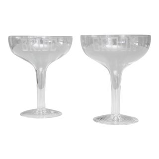 Vintage Bride & Groom Etched Champagne Coupe Glasses Wedding Glasses Gift For Sale