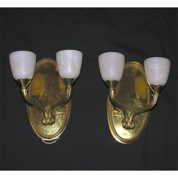 Pair of Deco-Style Two-Branch Wall Sconces For Sale In New York - Image 6 of 6