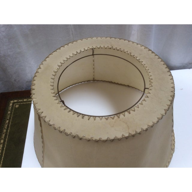 Vintage Vellum Hand Stitched Shade For Sale - Image 5 of 8
