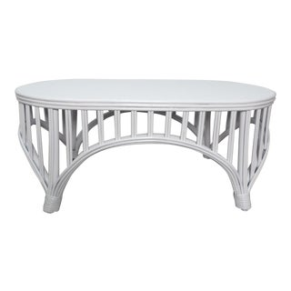 Boho Chic Oval Rattan Cocktail / Coffee Table With Bent Bamboo For Sale
