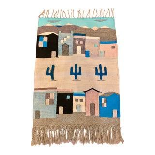 Vintage Southwestern Handwoven Textile Tapestry For Sale