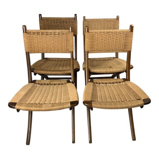 Mid-Century Danish Modern Rope Folding Chairs Wegner Style - Set of 4 For Sale