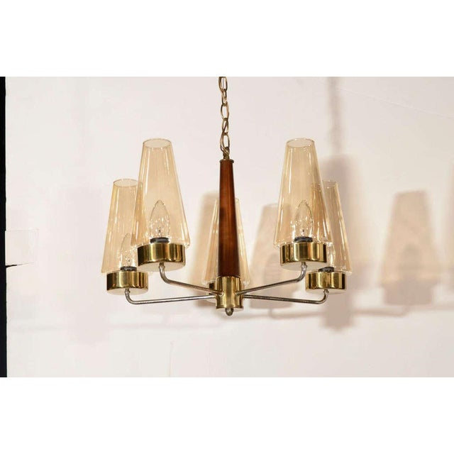 Mid-Century Modern Danish Chandelier in Teak and Brass For Sale - Image 4 of 9