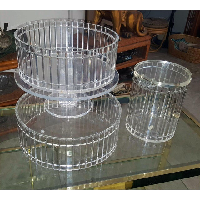 1990's Translucent Vertical Facet Cut Lucite Grainware Canister and Bowls - Lot of 3 For Sale In Palm Springs - Image 6 of 13