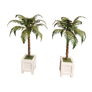 Chic Palm Beach Regency Tole Painted Palm Tree Candle Holders in Versailles Boxes - a Pair