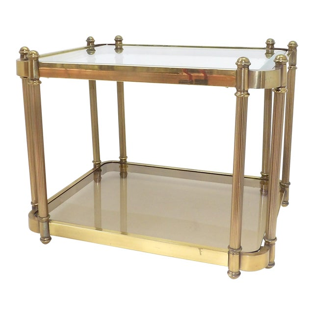 1960's Hollywood Regency Brass 2 Tier Glass Side Table For Sale