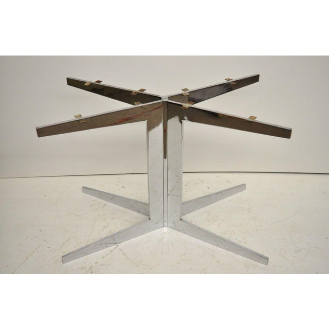 Mid-Century Modern Chrome Steel Double Star Pedestal Dining Table Bases - a Pair For Sale - Image 12 of 13