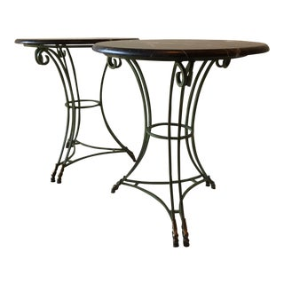 Mid 20th Century Italian Metal and Marble Round Tables - a Pair