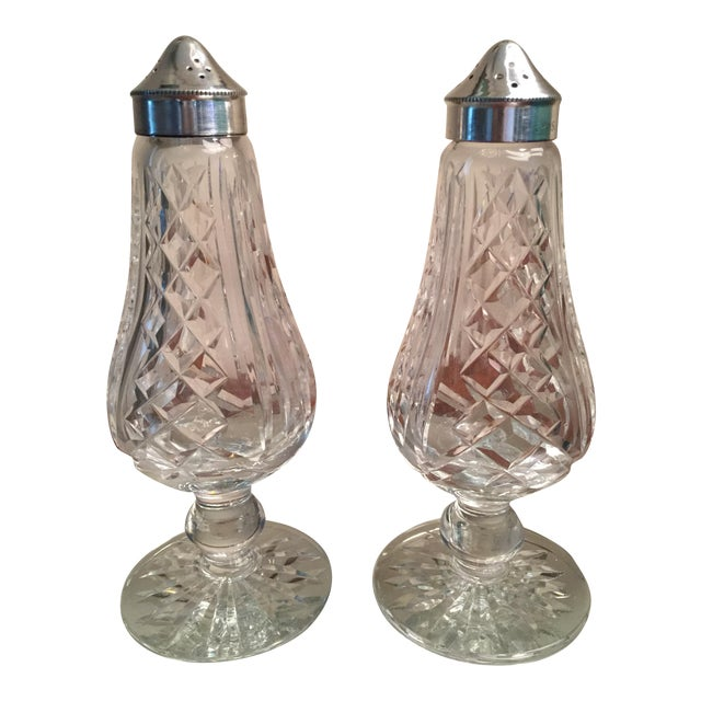 1970s Traditional Waterford Crystal Footed Salt & Pepper Shakers - Set of 2 For Sale