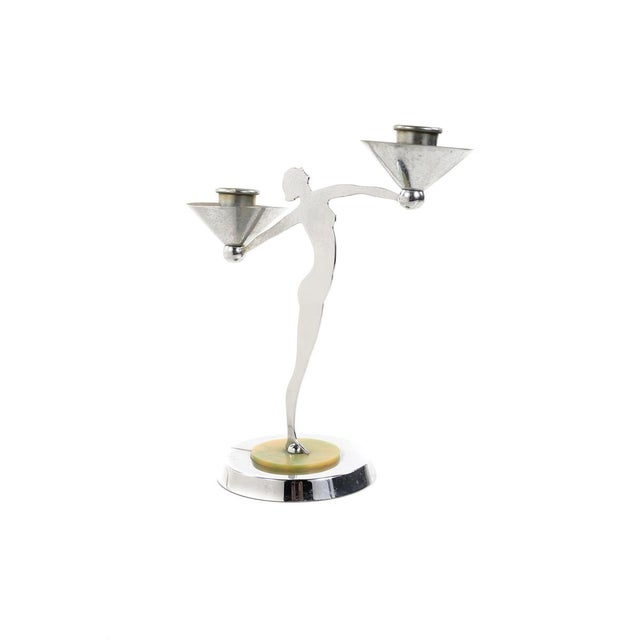Art Deco Art Deco Nude Dancers Chrome Candle Holders - a Pair For Sale - Image 3 of 10