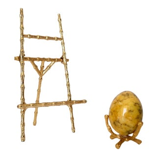 Gilt Gold Bamboo-Style Miniature Easel & Egg Holder with Marble Eggs -4 Pieces