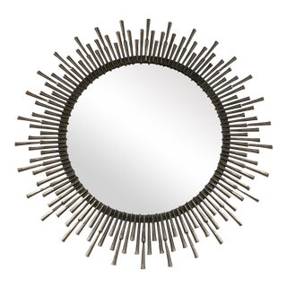 Spike Mirror in Antiqued Nickel Finish For Sale