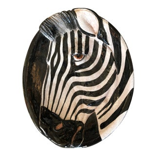 Rare & Fabulous Terra Cotta Zebra Figure Hanging Dish, Made in Italy For Sale