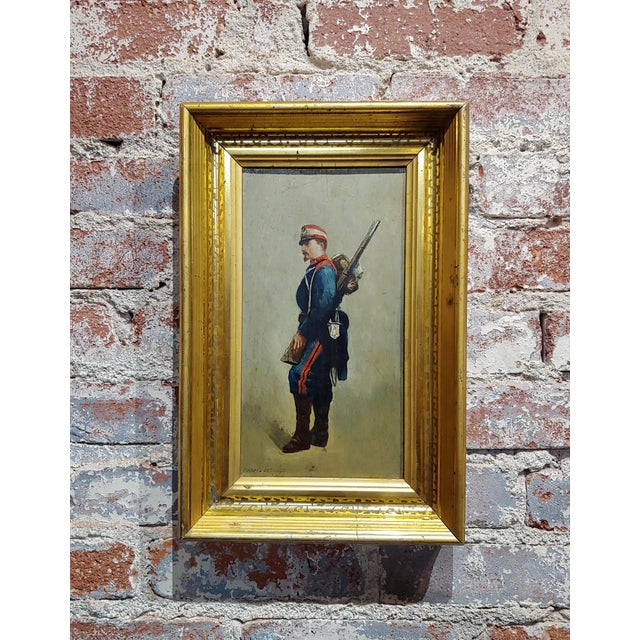 Edouard Jean Baptiste Detaille -Portrait of a Napoleonic Soldier -Oil Painting C.1870s For Sale - Image 11 of 11