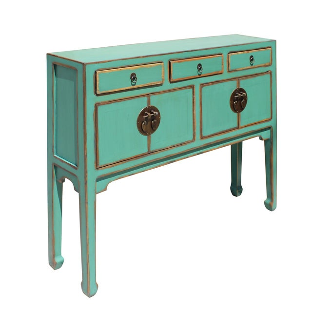Chinese Oriental Distressed Teal Green Blue Narrow Slim Table For Sale - Image 4 of 8