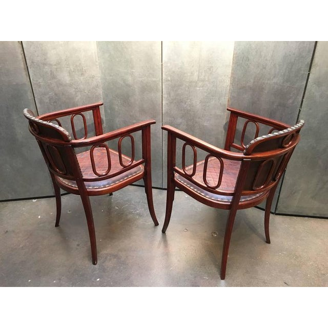 Pair of Josef Hoffman Bent Beechwood and Hand Tooled Leather Armchairs - Image 5 of 10
