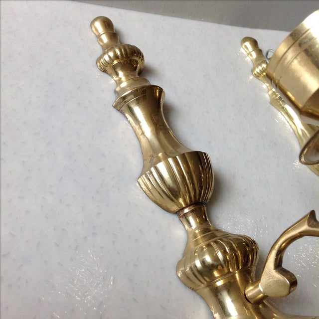 Gold Brass Wall Sconce Candle Holders - Pair For Sale - Image 8 of 11