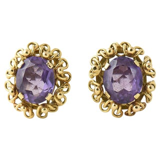 Vintage Mid Century Oval Amethyst in 14k Gold Frame Clip Earrings- A Pair For Sale