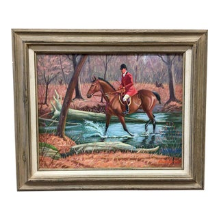 Original Oil Painting Equestrian Hunt Scene Edward Tomasiewicz Signed