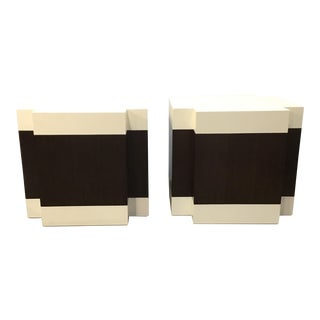 Pearson Modern Dark Wood and Leather Bunching Tables Pair For Sale