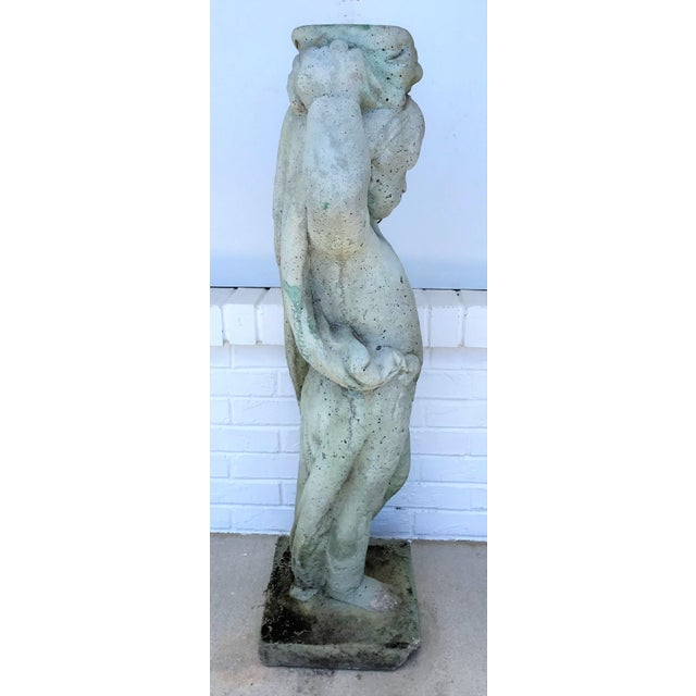 Vintage Old Palm Beach Stone Putti Planter Garden Statue For Sale - Image 9 of 13