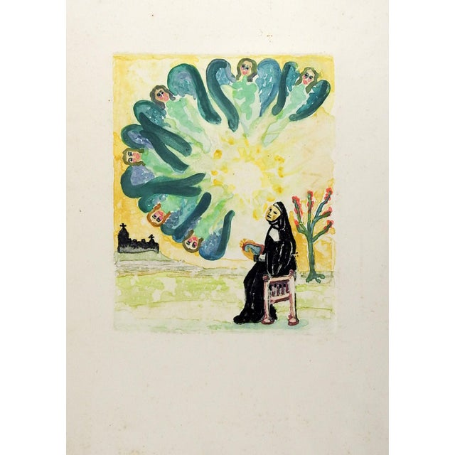 """Colored etching on paper of nun and angels. Unsigned. Unframed, scattered discoloration in margins, image size 7.5"""" x 10""""."""