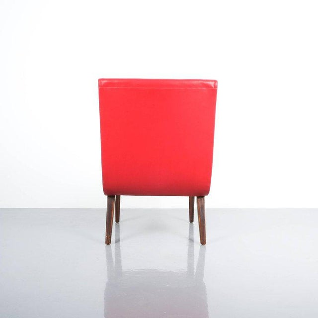 Mid-Century Modern Pair of 1950s Jens Risom Red Vinyl Faux Leather Chairs For Sale - Image 3 of 7