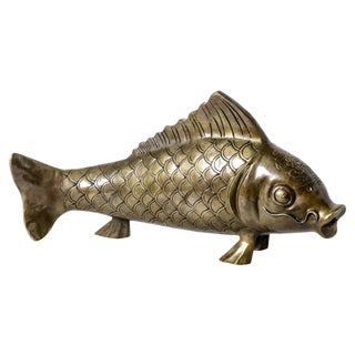 Japanese Meiji Era Huge Bronze Koi Fish 1868-1912 For Sale