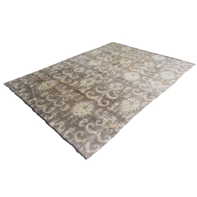 Hand Knotted Ikat Rug - 8′ × 10′1″ - Image 2 of 2
