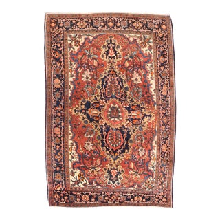 Antique Rose Farahan Persian Area Rug For Sale