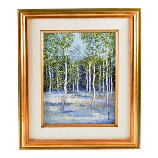 Impressionist Forest in Blue Painting For Sale