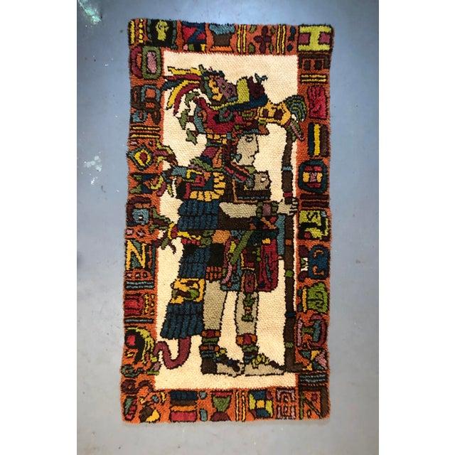 Mid Century Aztec Warrior Shag Rug For Sale - Image 12 of 12