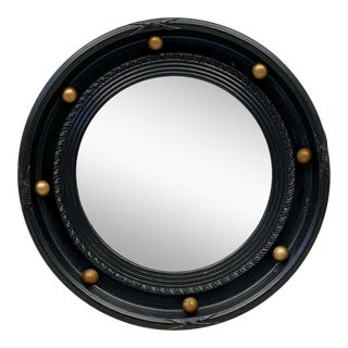 English Round Ebony Black and Gold Framed Convex Mirror (Diameter 14 1/2) For Sale