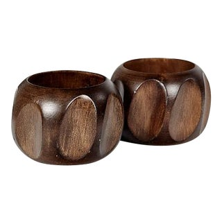 Carved Wood Napkin Rings - a Pair For Sale