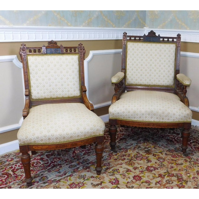 His & Her Victorian Renaissance Chairs - Pair - Image 2 of 11