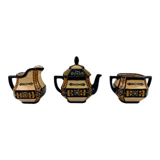 1940s Vintage Hb Quimper Teapot Service - Set of 3 For Sale
