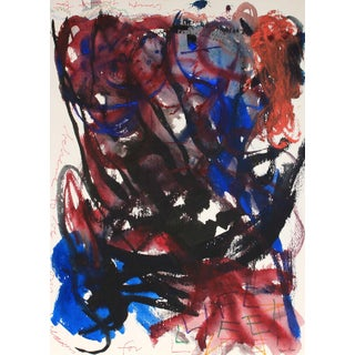 Red and Blue Expressionist Abstract Ink and Acrylic For Sale