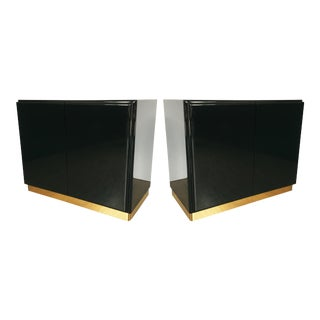 Green Lacquered Cabinets or Nightstands by Milo Baughman for Thayer Coggin - A Pair For Sale