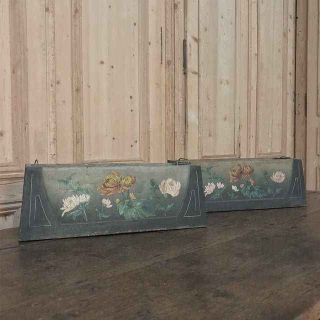 Metal Pair French Art Deco Painted Jardinieres / Planter Boxes For Sale - Image 7 of 13