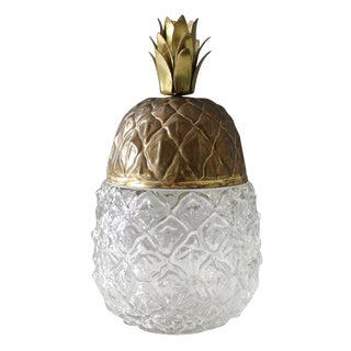 Vintage Brass & Glass Pineapple Jar Box Container Hollywood Regency For Sale