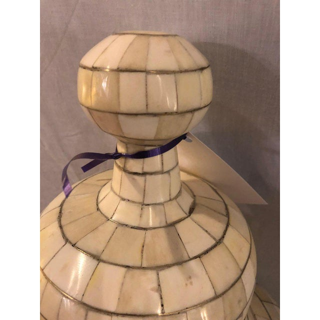 White Beautiful Antique Natural Bone Over Brass Urn For Sale - Image 8 of 12