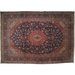 Persian Signed Kork Kashan Carpet - 10' X 14' For Sale