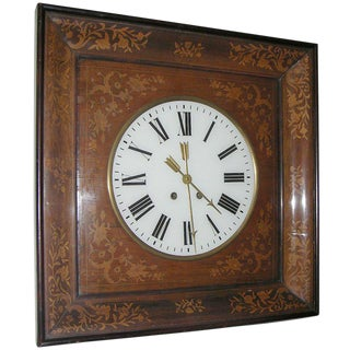 French Charles X Inlaid Walnut Wall Clock For Sale