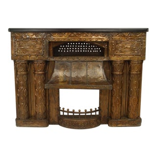 Austrian Secessionist Embossed Brass Fireplace For Sale